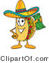 Vector Illustration of a Cartoon Taco Mascot Holding a Dollar Bill by Toons4Biz