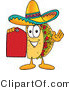 Vector Illustration of a Cartoon Taco Mascot Holding a Red Sales Price Tag by Toons4Biz