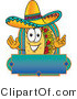 Vector Illustration of a Cartoon Taco Mascot over a Blank Banner by Toons4Biz