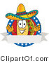 Vector Illustration of a Cartoon Taco Mascot over a Blank White Banner on an American Themed Business Logo by Toons4Biz