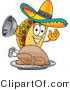 Vector Illustration of a Cartoon Taco Mascot Serving a Thanksgiving Turkey on a Platter by Toons4Biz