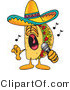 Vector Illustration of a Cartoon Taco Mascot Singing Loud into a Microphone by Toons4Biz
