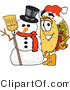 Vector Illustration of a Cartoon Taco Mascot with a Snowman on Christmas by Toons4Biz