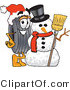 Vector Illustration of a Cartoon Tire Mascot with a Snowman on Christmas by Toons4Biz
