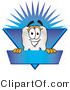 Vector Illustration of a Cartoon Tooth Mascot on a Blank Blue Business Label by Toons4Biz