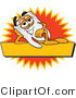 Vector Illustration of a Cartoon Tooth Mascot Reclining on a Yellow and Orange Business Label by Toons4Biz