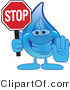 Vector Illustration of a Cartoon Water Drop Mascot Holding a Stop Sign by Toons4Biz