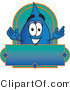 Vector Illustration of a Cartoon Water Drop Mascot on a Blank Label by Toons4Biz