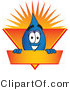 Vector Illustration of a Cartoon Water Drop Mascot on an Orange and Yellow Label by Toons4Biz