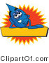 Vector Illustration of a Cartoon Water Drop Mascot Reclining over a Yellow Banner with an Orange Burst by Toons4Biz