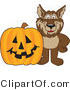 Vector Illustration of a Cartoon Wolf Mascot by a Halloween Pumpkin by Toons4Biz