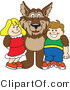 Vector Illustration of a Cartoon Wolf Mascot with Students by Toons4Biz