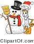 Vector Illustration of a Cartoon Wrench Mascot with a Snowman on Christmas by Toons4Biz