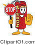 Vector Illustration of a Dynamite Stick Mascot Holding a Stop Sign by Toons4Biz