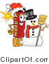 Vector Illustration of a Dynamite Stick Mascot with a Snowman on Christmas by Toons4Biz