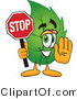 Vector Illustration of a Green Leaf Mascot Holding a Stop Sign by Toons4Biz