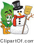 Vector Illustration of a Green Leaf Mascot with a Snowman on Christmas by Toons4Biz