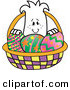 Vector Illustration of a Guy in an Easter Egg Basket by Toons4Biz