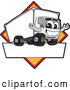 Vector Illustration of a Happy Delivery Big Rig Truck Mascot Character Sign or Logo with a Yellow Diamond by Toons4Biz