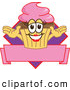 Vector Illustration of a Happy Female Cupcake over a Banner by Toons4Biz