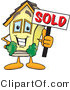 Vector Illustration of a Happy Home Mascot Holding Sold Sign by Toons4Biz