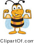 Vector Illustration of a Honey Bee Mascot Flexing His Arm Muscles by Toons4Biz