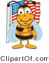 Vector Illustration of a Honey Bee Mascot Giving the Pledge of Allegiance near an American Flag by Toons4Biz