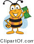 Vector Illustration of a Honey Bee Mascot Holding a Dollar Bill by Toons4Biz
