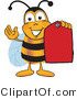 Vector Illustration of a Honey Bee Mascot Holding a Red Clearance Sales Tag by Toons4Biz