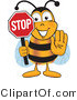 Vector Illustration of a Honey Bee Mascot Holding His Hand out and a Red Stop Sign by Toons4Biz