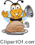 Vector Illustration of a Honey Bee Mascot Holding the Lid to a Platter with a Thanksgiving Turkey on It by Toons4Biz