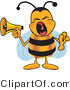 Vector Illustration of a Honey Bee Mascot Screaming into a Megaphone by Toons4Biz