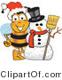 Vector Illustration of a Honey Bee Mascot with a Snowman on Christmas by Toons4Biz