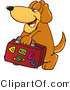 Vector Illustration of a Hound Dog Mascot Carrying Luggage by Toons4Biz