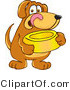 Vector Illustration of a Hound Dog Mascot Holding a Food Dish, Waiting to Be Fed by Toons4Biz