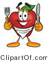 Vector Illustration of a Hungry Red Apple Mascot Wearing a Napkin, Holding a Fork and Knife by Toons4Biz