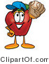 Vector Illustration of a Red Apple Mascot Catching a Baseball with a Glove by Toons4Biz