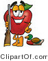 Vector Illustration of a Red Apple Mascot Duck Hunting, Standing with a Rifle and Duck by Toons4Biz