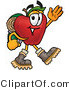 Vector Illustration of a Red Apple Mascot Hiking and Carrying a Backpack by Toons4Biz