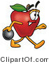 Vector Illustration of a Red Apple Mascot Holding a Bowling Ball by Toons4Biz