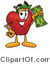 Vector Illustration of a Red Apple Mascot Holding a Green Dollar Bill, Paying or Saving by Toons4Biz