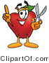 Vector Illustration of a Red Apple Mascot Holding a Pair of Scissors by Toons4Biz