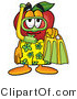 Vector Illustration of a Red Apple Mascot in Green and Yellow Snorkel Gear by Toons4Biz
