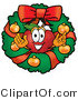 Vector Illustration of a Red Apple Mascot in the Center of a Christmas Wreath by Toons4Biz