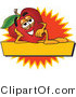 Vector Illustration of a Red Apple Mascot Label by Toons4Biz