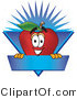 Vector Illustration of a Red Apple Mascot Label with a Burst by Toons4Biz