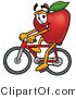 Vector Illustration of a Red Apple Mascot Riding a Bicycle by Toons4Biz