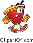 Vector Illustration of a Red Apple Mascot Speed Walking or Jogging by Toons4Biz