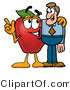 Vector Illustration of a Red Apple Mascot Talking Nutrition with a Business Man by Toons4Biz