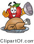 Vector Illustration of a Red Apple Mascot with a Cooked Thanksgiving Turkey on a Platter by Toons4Biz